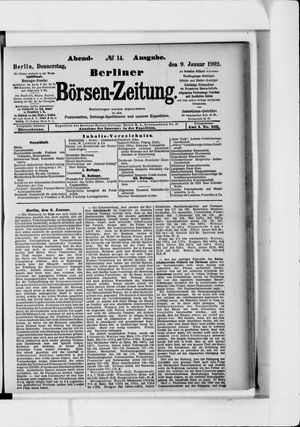 Berliner Börsen-Zeitung vom 09.01.1902