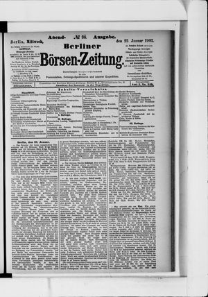 Berliner Börsen-Zeitung vom 22.01.1902