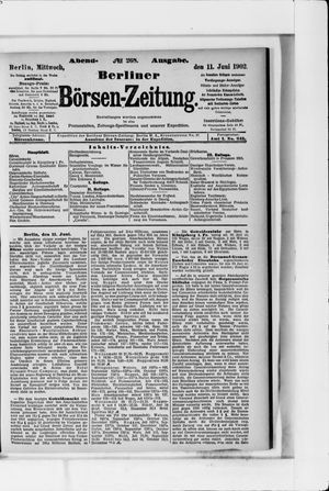 Berliner Börsen-Zeitung vom 11.06.1902