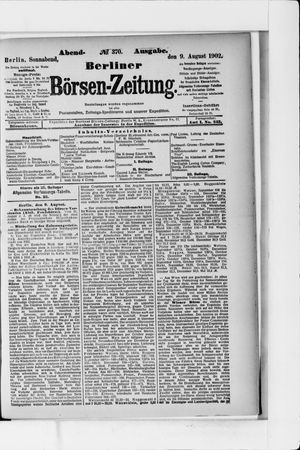 Berliner Börsen-Zeitung vom 09.08.1902