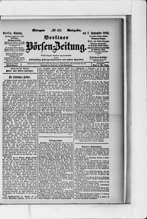 Berliner Börsen-Zeitung vom 07.09.1902