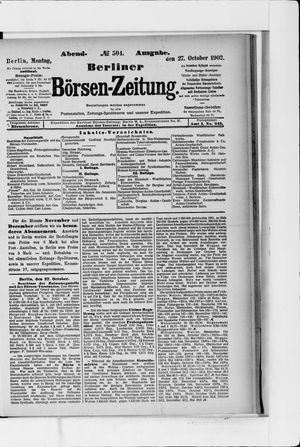 Berliner Börsen-Zeitung vom 27.10.1902