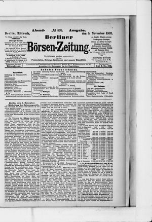 Berliner Börsen-Zeitung vom 05.11.1902