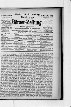Berliner Börsen-Zeitung vom 17.11.1902