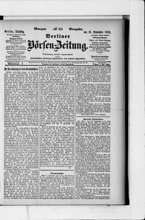 Berliner Börsen-Zeitung vom 18.11.1902