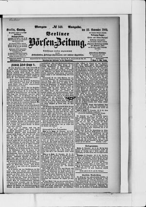 Berliner Börsen-Zeitung vom 23.11.1902