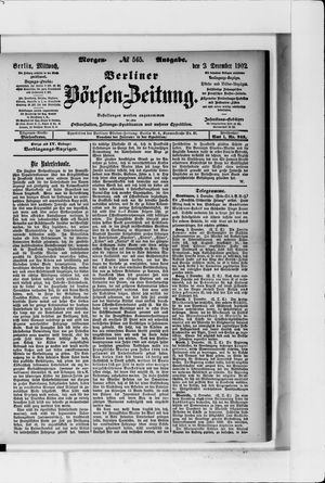Berliner Börsen-Zeitung vom 03.12.1902