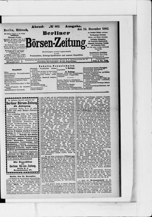Berliner Börsen-Zeitung vom 24.12.1902