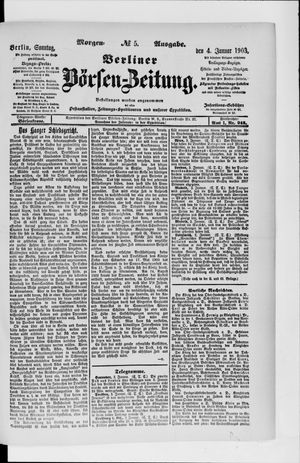 Berliner Börsen-Zeitung vom 04.01.1903