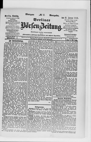 Berliner Börsen-Zeitung vom 11.01.1903