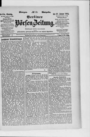 Berliner Börsen-Zeitung vom 18.01.1903