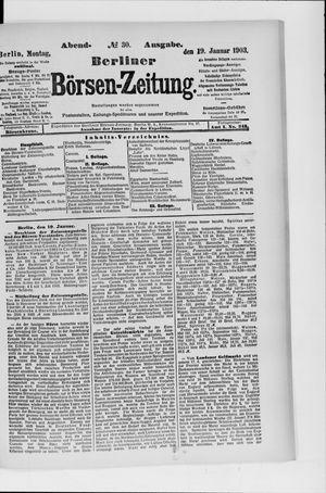 Berliner Börsen-Zeitung vom 19.01.1903