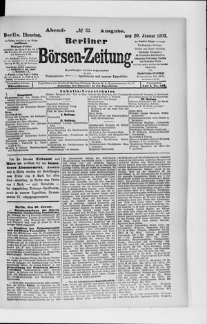 Berliner Börsen-Zeitung vom 20.01.1903