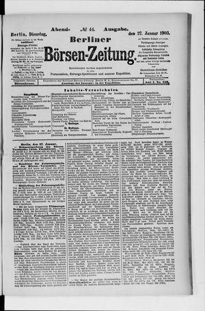 Berliner Börsen-Zeitung vom 27.01.1903