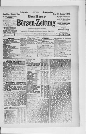 Berliner Börsen-Zeitung vom 29.01.1903