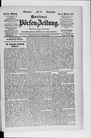 Berliner Börsen-Zeitung vom 04.02.1903