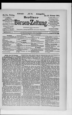 Berliner Börsen-Zeitung vom 13.02.1903