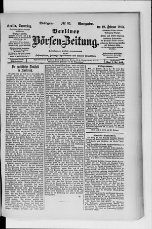 Berliner Börsen-Zeitung vom 19.02.1903