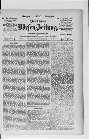 Berliner Börsen-Zeitung vom 21.02.1903