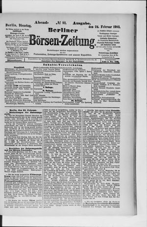 Berliner Börsen-Zeitung vom 24.02.1903