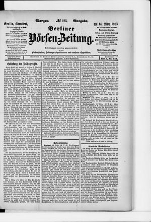 Berliner Börsen-Zeitung vom 14.03.1903