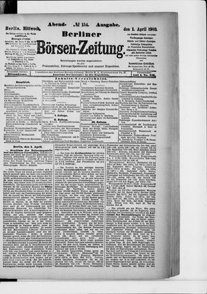 Berliner Börsen-Zeitung vom 01.04.1903