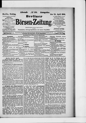 Berliner Börsen-Zeitung vom 24.04.1903