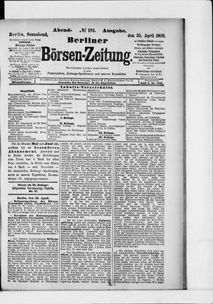 Berliner Börsen-Zeitung vom 25.04.1903