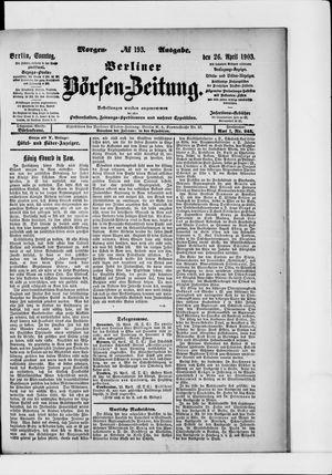 Berliner Börsen-Zeitung vom 26.04.1903