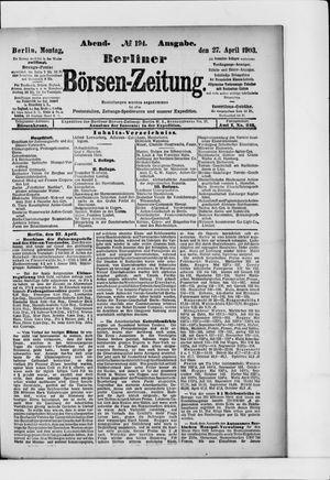 Berliner Börsen-Zeitung vom 27.04.1903