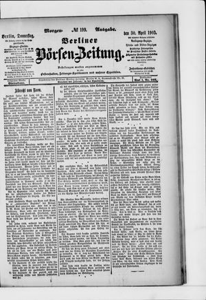Berliner Börsen-Zeitung vom 30.04.1903