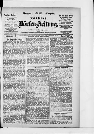 Berliner Börsen-Zeitung vom 15.05.1903