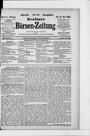 Berliner Börsen-Zeitung vom 18.05.1903