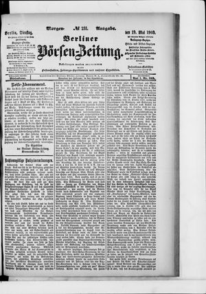 Berliner Börsen-Zeitung vom 19.05.1903