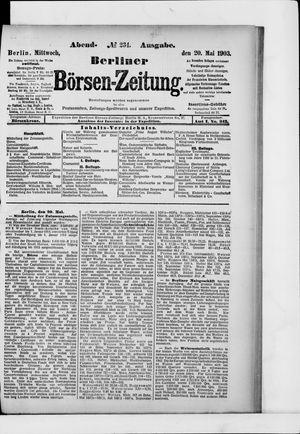 Berliner Börsen-Zeitung vom 20.05.1903