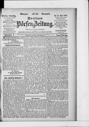 Berliner Börsen-Zeitung vom 21.05.1903