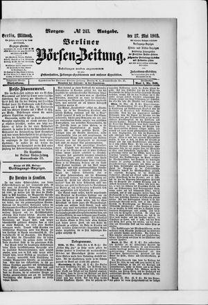 Berliner Börsen-Zeitung vom 27.05.1903