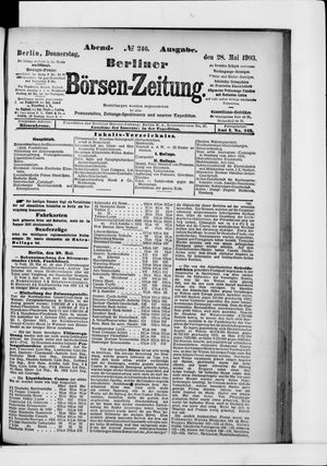 Berliner Börsen-Zeitung on May 28, 1903