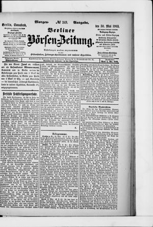 Berliner Börsen-Zeitung on May 30, 1903