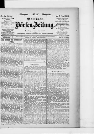 Berliner Börsen-Zeitung vom 05.06.1903