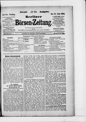 Berliner Börsen-Zeitung vom 15.06.1903
