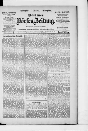 Berliner Börsen-Zeitung vom 20.06.1903