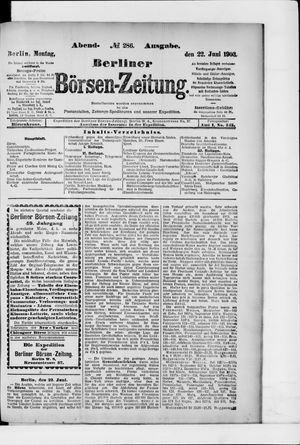 Berliner Börsen-Zeitung vom 22.06.1903