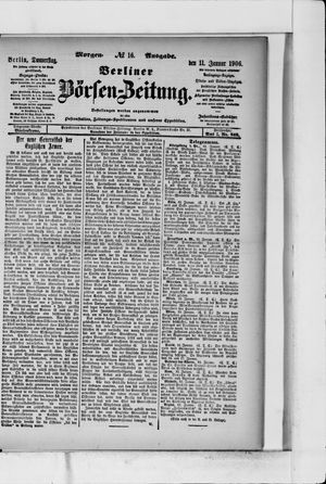 Berliner Börsen-Zeitung on Jan 11, 1906