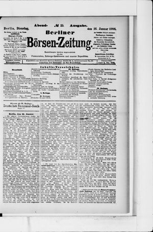 Berliner Börsen-Zeitung vom 16.01.1906