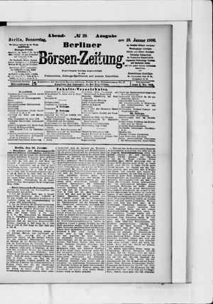 Berliner Börsen-Zeitung vom 18.01.1906