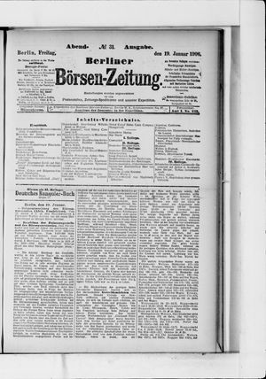 Berliner Börsen-Zeitung vom 19.01.1906