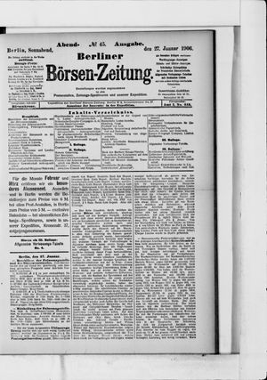 Berliner Börsen-Zeitung vom 27.01.1906
