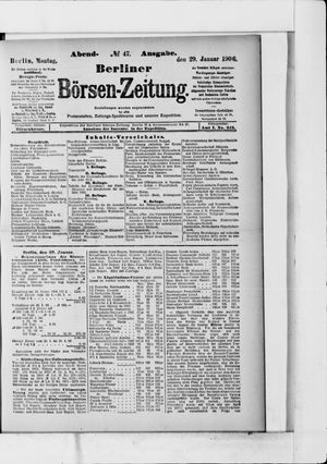 Berliner Börsen-Zeitung vom 29.01.1906