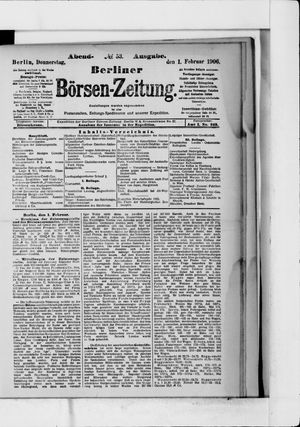 Berliner Börsen-Zeitung on Feb 1, 1906